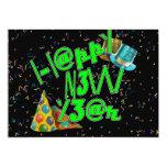 Felices Año Nuevo de LEET (verde del neón) Invitación 12,7 X 17,8 Cm