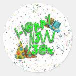 Felices Año Nuevo de LEET (verde del neón) Etiquetas Redondas