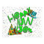 Felices Año Nuevo de LEET (verde del neón) Postal