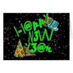 Felices Año Nuevo de LEET (verde del neón) Tarjeta De Felicitación