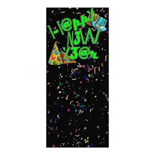 Felices Año Nuevo de LEET (verde del neón) Tarjeta Publicitaria A Todo Color