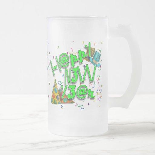 Felices Año Nuevo de LEET (verde del neón) Taza