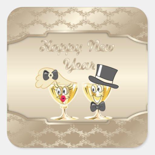 Felices Año Nuevo de pegatina del día de fiesta