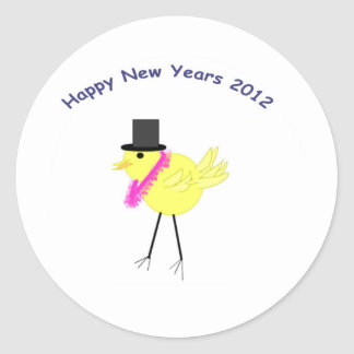 Felices Año Nuevo de polluelo 2012 con estilo Pegatina Redonda