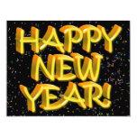 Felices Año Nuevo de texto amarillo Invitación 10,8 X 13,9 Cm