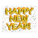 Felices Año Nuevo de texto amarillo Postal
