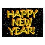 Felices Año Nuevo de texto amarillo Tarjeta De Felicitación