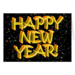 Felices Año Nuevo de texto amarillo Tarjetón