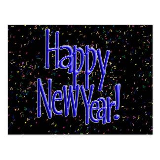 Felices Año Nuevo de texto del azul Tarjeta Postal