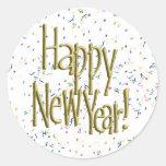 Felices Año Nuevo de texto del oro Pegatina Redonda