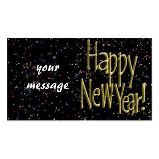 Felices Año Nuevo de texto del oro Tarjetas De Visita