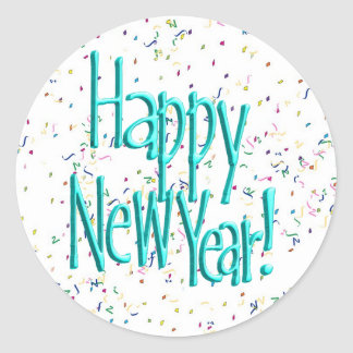 Felices Año Nuevo de turquesa del texto Pegatina Redonda
