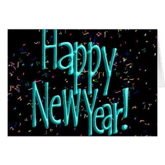 Felices Año Nuevo de turquesa del texto Tarjeta De Felicitación