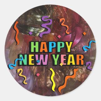 Felices Año Nuevo de vapores y decoraciones Stic Pegatina Redonda