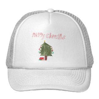 Felices árbol de navidad y presentes gorra