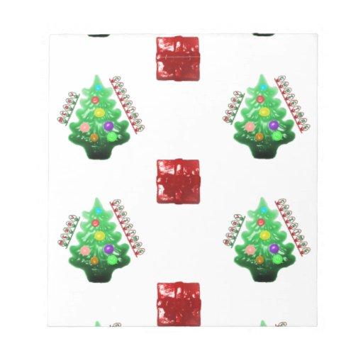 Felices árbol de navidad y regalo blocs de notas