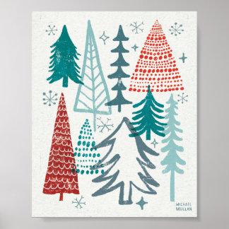 Felices árboles de Christmastime Póster
