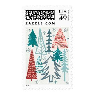 Felices árboles de Christmastime Timbres Postales