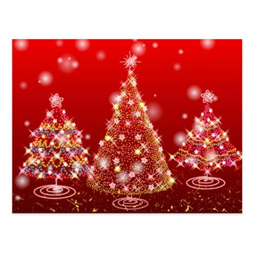 Felices árboles de navidad chispeantes festivos postal