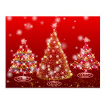 Felices árboles de navidad chispeantes festivos tarjeta postal