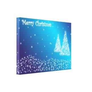 Felices árboles de navidad y estrellas impresiones en lienzo estiradas