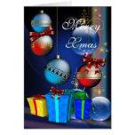 Felices bolas del navidad de las cajas de regalo d tarjetas