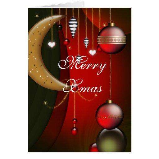 Felices bolas del rojo de Navidad de la tarjeta