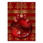 Felices bolas rojas del navidad del oro de Navidad Tarjetas
