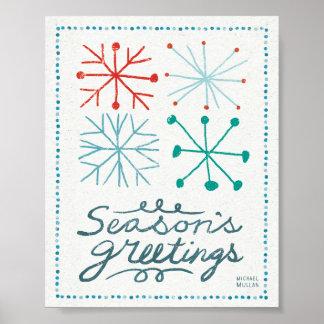 Felices copos de nieve de Christmastime Posters