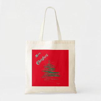 Felices copos de nieve del árbol de navidad bolsa tela barata