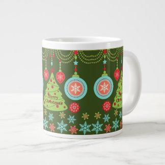 Felices copos de nieve del árbol de navidad del dí taza extra grande