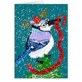 ¡Felices cristatamas del cristata del Cyanocitta! Tarjeta Pequeña