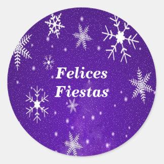 Felices Fiestas Snowflakes Blue Round Stickers