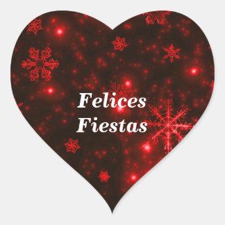 Felices Fiestas Snowflakes Deep Red Heart Stickers