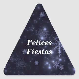 Felices Fiestas Snowflakes Midnight Blue Stickers