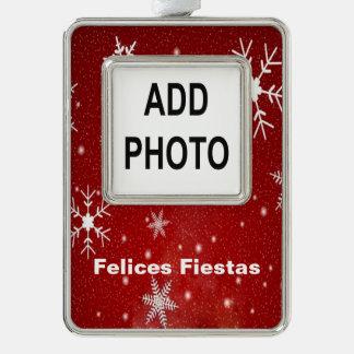 Felices Fiestas Snowflakes & Red Framed Ornament