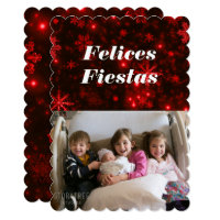 Felices Fiestas Snowflakes with Deep Red Flat Card
