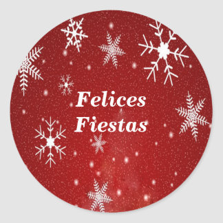 Felices Fiestas Snowflakes with Red Stickers