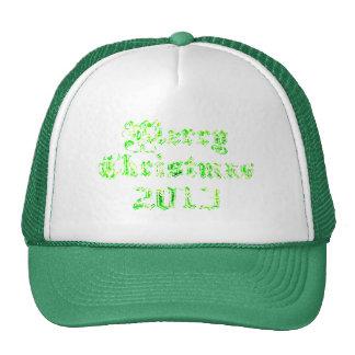 Felices Navidad 2013 del brillo verde Gorros