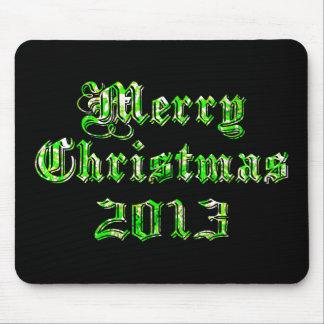 Felices Navidad 2013 del brillo verde Tapetes De Ratones