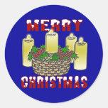 Felices Navidad 4 Etiqueta Redonda