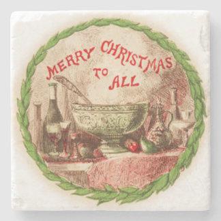 Felices Navidad a todos guirnalda y comida Posavasos De Piedra