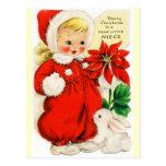 Felices Navidad a un estimado pequeño vintage de l Tarjeta Postal