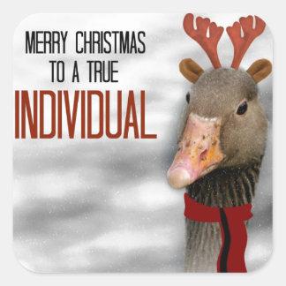 Felices Navidad a un individuo verdadero Pegatina Cuadrada
