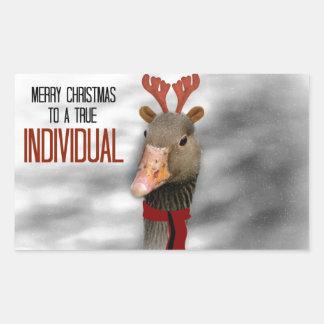 Felices Navidad a un individuo verdadero Pegatina Rectangular