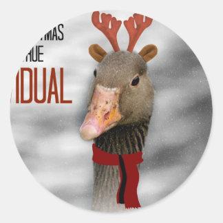 Felices Navidad a un individuo verdadero Pegatina Redonda