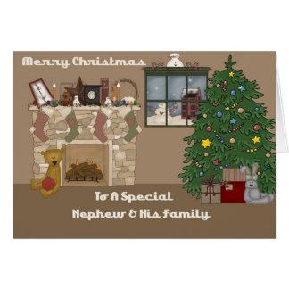 Felices Navidad a un sobrino y a una familia espec Tarjeta De Felicitación