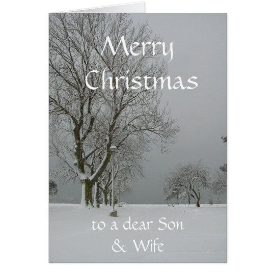 Felices Navidad a una estimada escena del hijo y Tarjeta De Felicitación