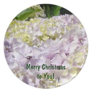 ¡Felices Navidad a usted! el regalo platea Hydrang Platos Para Fiestas
