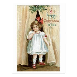 Felices Navidad a usted - Ellen Clapsaddle Postal